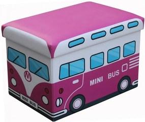 Taburet cu spatiu depozitare pentru copii,48 x 32 x 32 cm,bus