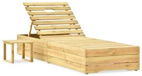 315401 vidaXL Șezlong cu masă, lemn de pin verde tratat