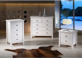 Comodă cu 4 sertare din lemn masiv de pin Marckeric Berna, alb