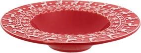 Farfurie adanca ceramica rosu alb model Ren Ø 25 cm 0.15L