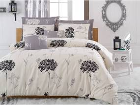 Lenjerie de pat cu cearșaf Efil Beige Grey, 200 x 220 cm, gri - bej