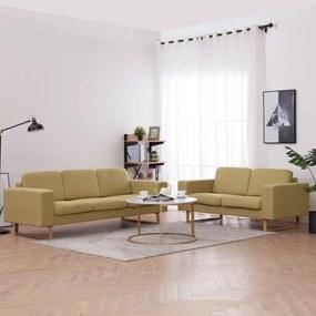 276862 vidaXL Set de canapele, 2 piese, verde, material textil