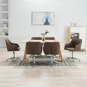 278434 vidaXL Scaune de sufragerie pivotante, 6 buc., maro, material textil
