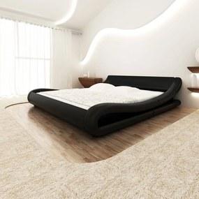 Cadru de pat ondulat, piele artificială, 180 x 200 cm, negru