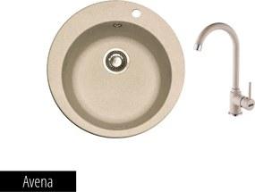 Pachet Franke Chiuveta bucatarie rotunda Fragranite ROTONDO ROG 610 + Baterie chiuveta bucatarie Pola Avena