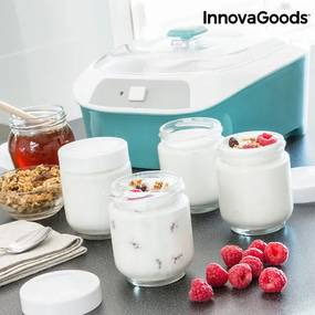 Aparat pentru Pregătirea Iaurtului Vintage cu 6 Borcane InnovaGoods 1 L 20W Alb Turcoaz