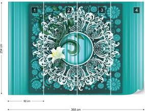 Fototapet GLIX - Vintage Pattern Green + adeziv GRATUIT Papírová tapeta  - 368x254 cm