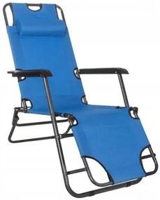Sezlong pentru gradina, metalic, reglabil, albastru, 120x60x80 cm, Springos