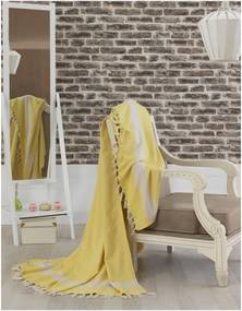 Cuvertură pat din bumbac Baliksirfi Yellow, 200 x 240 cm, galben