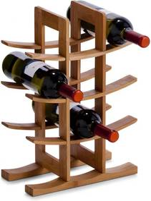 Suport sticle vin Zeller, bambus, 29x16x42 cm