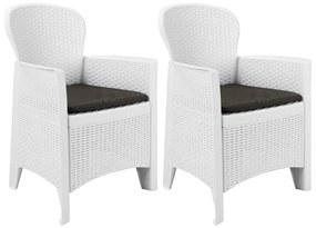 45598 vidaXL Scaune de grădină cu perne, 2 buc., alb, plastic, aspect ratan