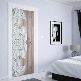 GLIX Tapet netesute pe usă - Vintage Chic 3D Carved White Flowers Wood Plank Texture