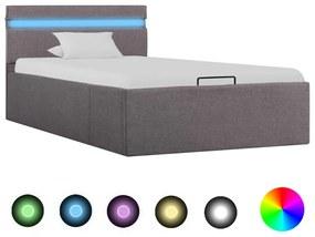 285624 vidaXL Cadru pat hidraulic depozitare LED gri taupe 90x200 cm textil