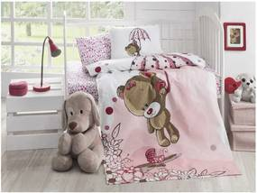 Cuvertură matlasată din bumbac pentru pat de o persoană Baby Pique Pinkie, 95 x 145 cm
