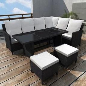 Set mobilier de exterior pentru 8 persoane, poliratan, negru