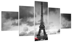Tablou cu turnul Eiffel și mașina roșie (125x70 cm), în 40 de alte dimensiuni noi