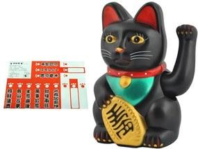 Figurina Pisica Lucky care aduce noroc si bogatie, culoare Negru