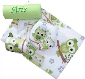 Deseda - Set Personalizat antiregurgitare si pozitionare cu plan inclinat pentru bebelusi  Bufnite verzi
