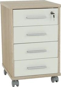 Dulăpior de birou cu cheie, stejar sonoma/alb, JOHAN 2 NEW 12