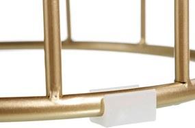 Puf CHEST Bej din Catifea si Metal 34.5cm IXIA - Catifea Bej Diametru (34.5cm) x Inaltime (44cm)