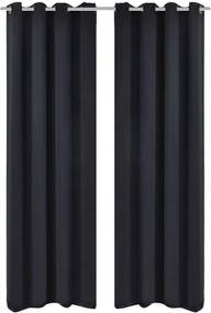 Draperii blackout 2 bucăți 135 x 245 cm cu inele metalice Negru