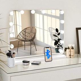 Oglindă iluminată, LED, conexiune Bluetooth, 2 Difuzoare, USB, Control Touch, 3 Culori de Lumină, Luminozitate Reglabilă, GLAM BLUETOOTH 80x60 cm