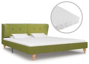 277591 vidaXL Pat cu saltea, verde, 160 x 200 cm, material textil
