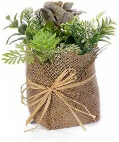 Plante suculente artificiale in ghiveci iuta verde maro  Ø 10 cm x 18 H