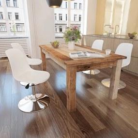 242254 vidaXL Scaune de bucătărie pivotante, 4 buc., alb, piele ecologică