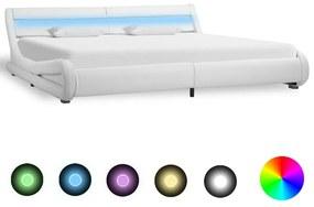 285737 vidaXL Cadru de pat cu LED, alb, 180 x 200 cm, piele ecologică