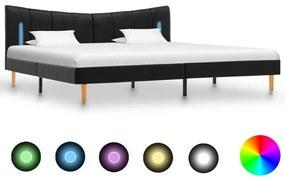 288540 vidaXL Cadru de pat cu LED, negru, 160 x 200 cm, piele ecologică