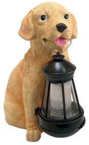 Decoratiune gradina lampa solara catel cu felinar, 24x14x25 cm