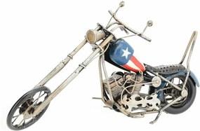 Model decorativ motocicletă Chopper, albastru