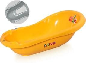 Cada baie 84 cm cu dop de scurgere si baza antialunecare Dino Orange
