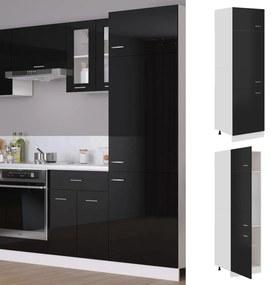 802544 vidaXL Dulap pentru frigider, negru extralucios, 60 x 57 x 207 cm, PAL