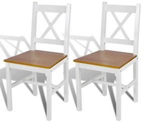 241512 vidaXL Scaune de bucătărie, 2 buc., alb, lemn de pin