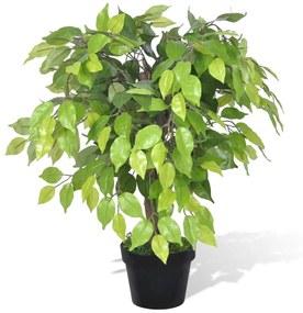 Ficus pitic artificial cu aspect natural și ghiveci, 60 cm