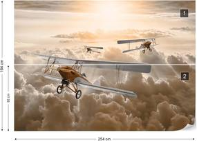Fototapet GLIX - Planes Flying Above The Clouds + adeziv GRATUIT Tapet nețesute - 254x184 cm