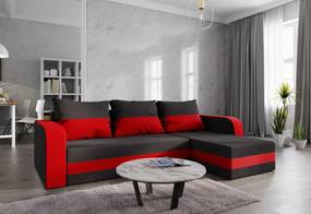 Expedo Colțar extensibil WELTA, 242x85x144, negru/roșu, microfibră15/22