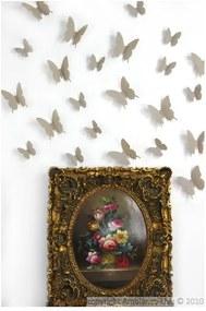 Set 12 autocolante 3D Ambiance Butterflies, maro deschis