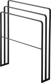 Suport pentru prosoape, metal, negru, 81 x 70 x 14 cm