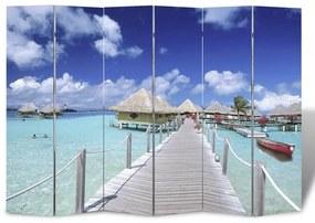 240480 vidaXL Paravan de cameră pliabil, 240 x 170 cm, plajă