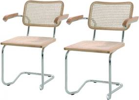 Set de 2 scaune Holm cu brate tesatura/metal, crem, 61 x 81 x 53 cm