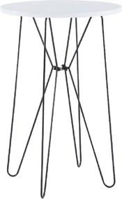 Măsuţă portabilă, alb/picioare negre, RUBEN