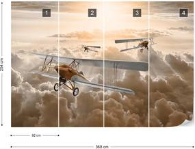 Fototapet GLIX - Planes Flying Above The Clouds + adeziv GRATUIT Papírová tapeta  - 368x280 cm