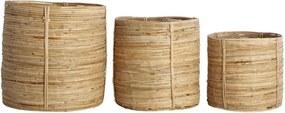 Set 3 cosuri maro din ratan si bambus Chaka House Doctor