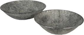 Set 2 boluri decorative din metal gri Ø 41 cm x 10 h; Ø 35 cm x 9 h