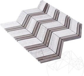 Mozaic Marmura Athena Grey Wood si Athena White Wood Chevron Polisat
