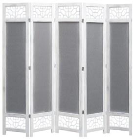 284185 vidaXL Paravan de cameră cu 5 panouri, gri, 175 x 165 cm, textil
