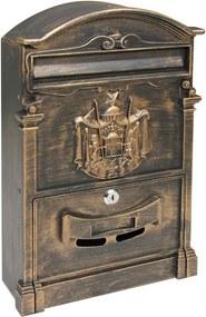 Cutie poștală din aluminiu Vintage, aurie